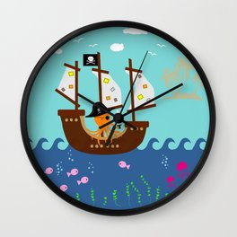 Little Captain Pirate Octopus Wall Clock