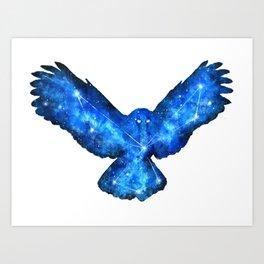 Space Owl | Double Exposure Owl | Owl Constellation | Cosmic Owl Art Print