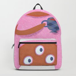 Neon pink Retro monster enjoying a cup of tea Backpack