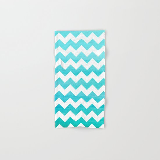Aqua Blue chevron ZigZag Herringbone - watercolor on white pattern #Society6 Hand & Bath Towel