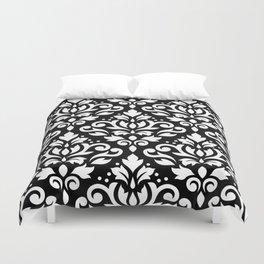 Scroll Damask Big Pattern White on Black Duvet Cover