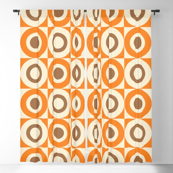 Mid Century Square and Circle Pattern 541 Orange and Brown by tonymagner