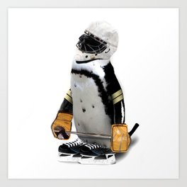 Little Mascot Hockey Player Penguin Kunstdrucke