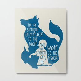 Strength of the Pack - Wolf and Child Metal Print