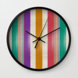 """Colorful Vertical Lines Burlap Texture"" Wall Clock"