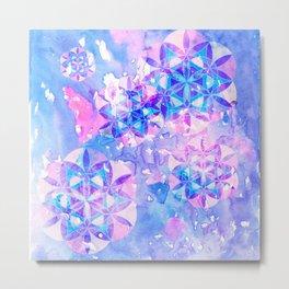 Flower-of-Life Paint Pattern Blue Metal Print