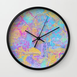 CMYK Mixed Media Collage Wall Clock
