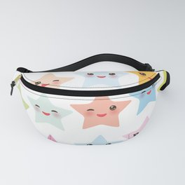 Kawaii stars pattern, face with eyes, pink green blue purple yellow Fanny Pack