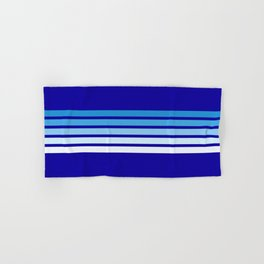 Retro Stripes on Blue Hand & Bath Towel