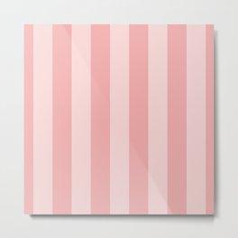 Large Blush Pink Beach Hut Stripes Metal Print