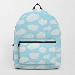 Happy Clouds - Blue and White, Sky Pattern Backpack