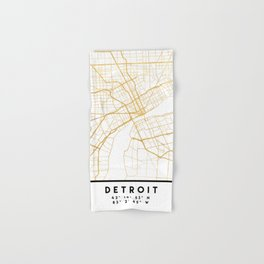 DETROIT MICHIGAN CITY STREET MAP ART Hand & Bath Towel