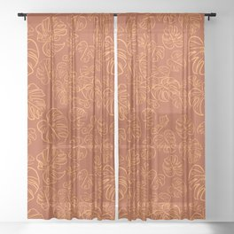 Monstera Jungle Golden Leaves Marigold Yellow & Rust palette_vector drawing  Sheer Curtain