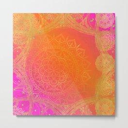 Fuchsia Pink Orange & Gold Indian Mandala Glam Metal Print