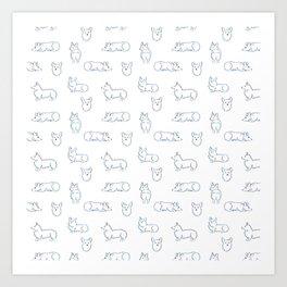 Corgi Pattern Art Print