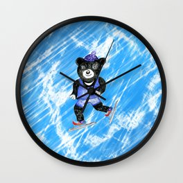 Skating bear Wall Clock