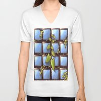technology V-neck T-shirts featuring Technology Vs Nature  by The Art Experiment co