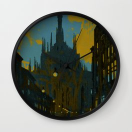 Vintage Made Modern: Italian Cityscape with Abstract Texture Wall Clock