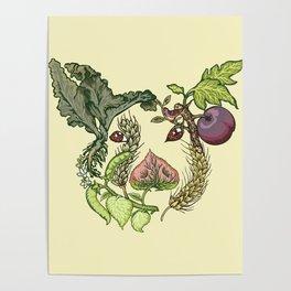 Botanical Pig Poster