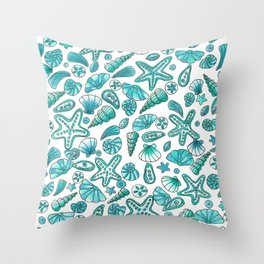 Turquoise seashells Throw Pillow