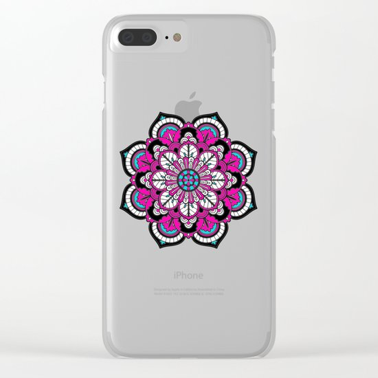 Black and White Flower in Magenta Clear iPhone Case