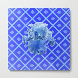 Baby Blue German Iris Blue Pattern Metal Print
