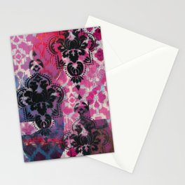 Mixed Media - Black, Red & Pink Stationery Cards
