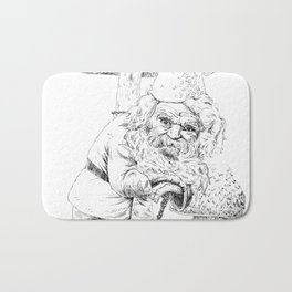 Knobby-caned gnome with mushrooms Bath Mat