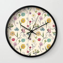 Hand-drawn garden in cream Wall Clock