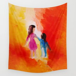 """""""Two of us"""" Original oil finger painting by Monika Toth Wall Tapestry"""