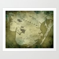 westeros Art Prints featuring Fantasy Map of Brooklyn: Green Parchment by Midgard Maps