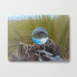 Crystal Ball, Lens Ball in Tall Grass by the Ocean Metal Print