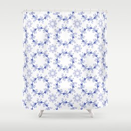 Blue floral ornament on a white background Shower Curtain