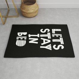 Lets Stay in Bed black and white bedroom decor cute Scandinavian typography design Rug