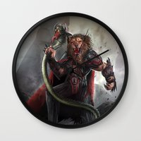 lion king Wall Clocks featuring Lion King by Alexandrescu Paul