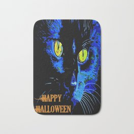 Black Cat Portrait with Happy Halloween Greeting  Bath Mat