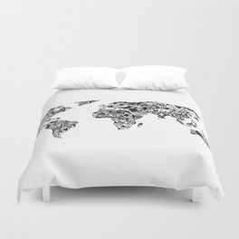 World Map in a mathematician universe Duvet Cover