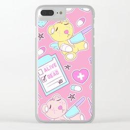 Yami Kawaii Creepy Cute Bears on Pink Clear iPhone Case