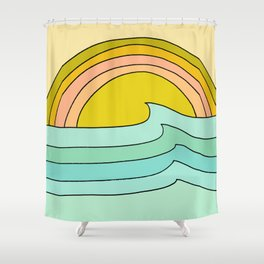 daydreams glassy swells and sunrise radiate by surfy birdy Shower Curtain