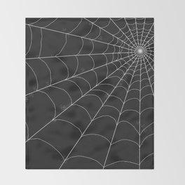 Spiderweb on Black Throw Blanket