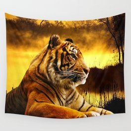 Tiger and Sunset Wall Tapestry