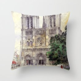 "Cass Gilbert ""Cathedral of Notre Dame, Paris"" (1933) Throw Pillow"