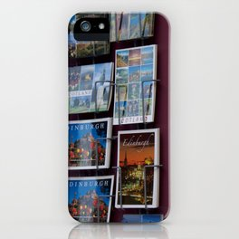 Edinburgh postcards and wall corner grocer Royal Mile iPhone Case