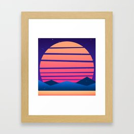 Synthwave Space: Twilight horizon #2 (pixelart) Framed Art Print