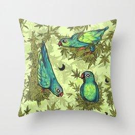 Parrots & Weeds Throw Pillow
