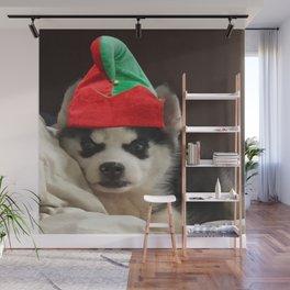 Husky Puppy Elf Wall Mural