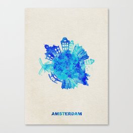 Amsterdam, The Netherlands Colorful Skyround / Skyline Watercolor Painting Canvas Print