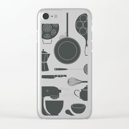 Kitchen Tools (black on white) Clear iPhone Case