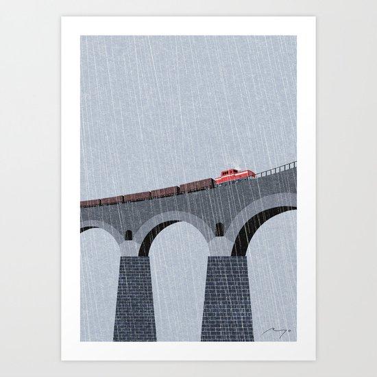 Bridge in the rain Art Print
