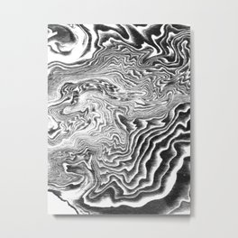 Suminagashi 3 black and white marble spilled ink ocean swirl watercolor painting Metal Print